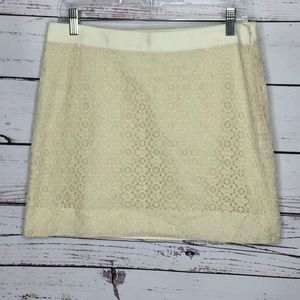J Crew cream lace mini skirt